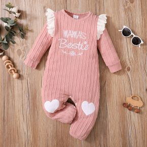 Baby Girl Letter Embroidered Pink Cotton Long-sleeve Ruffle Jumpsuit