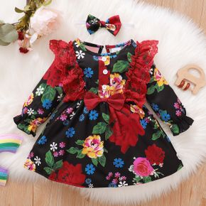 2pcs Baby Lace Splicing All Over Floral Print Black Long-sleeve Dress Set