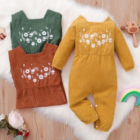 Baby Girl Floral Embroidered Solid Square Neck Long-sleeve Corduroy Jumpsuit