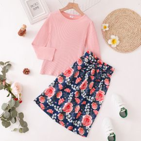 2-piece Kid Girl Long-sleeve Pink Top and Bowknot Design Floral Print Paperbag Skirt Set