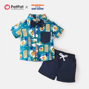 Baby Shark 2-piece Toddler Boy Button Shirt and Solid Cotton Shorts Set