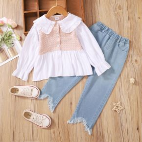 2-piece Toddler Girl Doll Collar Tweed Splice Long-sleeve Top and Ripped Hem Denim Jeans Set