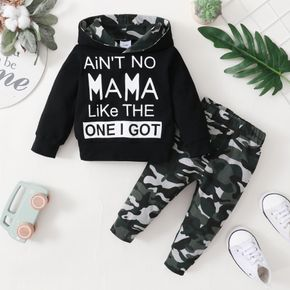 2-piece Baby Boy Letter Camouflage Print Hoodie Sweatshirt and Pants Casual Set
