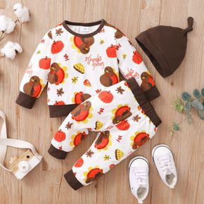 Thanksgiving Day 3pcs Baby All Over Cartoon Turkey Print Long-sleeve Pullover and Trousers Set