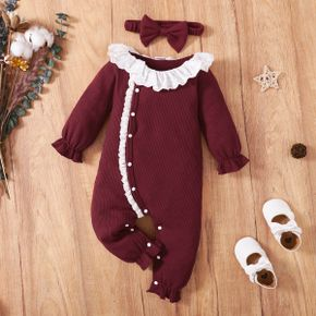 2pcs Baby Girl Ruffle Collar Solid Ribbed Long-sleeve Jumpsuit