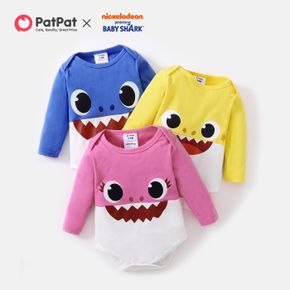 Baby Shark Cotton Shark Face Graphic Colorblock Bodysuit for Baby