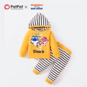 Baby Shark 2-piece Baby Boy Cotton Hooded and Stripe Pants Set