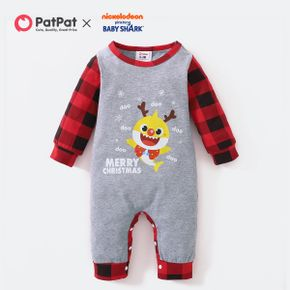 Baby Shark Christmas Cotton Graphic and Plaid Jumpsuit for Baby