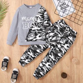 2-piece Kid Boy Letter Camouflage Print Colorblock Pullover Sweatshirt and Pants Set