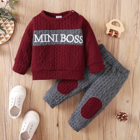 2-piece Baby Girl/Boy Letter Print Cable Knit Textured Sweater and Pants Set