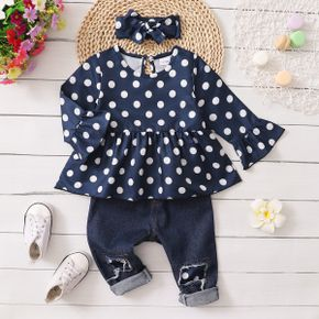 3pcs Baby All Over Polka Dots Navy Ruffle Bell Sleeve Top and Cotton Ripped Denim Jeans Set