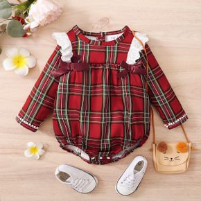Christmas Red Plaid Baby Girl Ruffle Bowknot Long-sleeve Romper