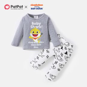 Baby Shark 2-piece Baby Boy Cotton Graphic Tee and Allover Pants Set