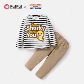 Baby Shark 2-piece Toddler Boy Cotton Stripe Tee and Solid Pants Set
