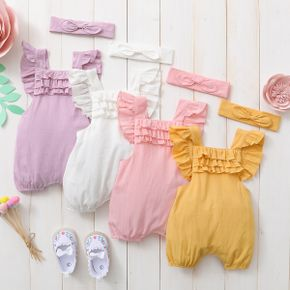 2-Piece Baby Solid Backless Flutter-sleeve Ruffle Romper and headband Set