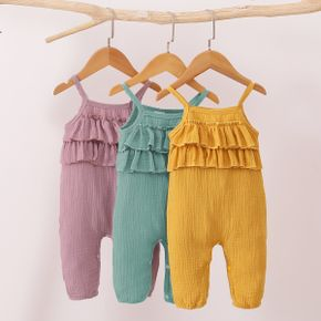 100% Cotton Solid Crepe Ruffled Front Baby Sling  Jumpsuit
