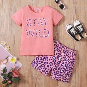 Leopard Letter Print Tee and Shorts Athleisure Set for Toddlers / Kids
