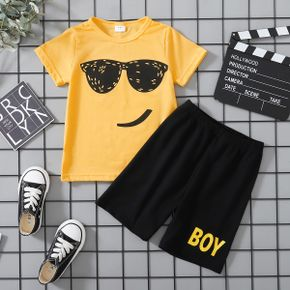 Sunglasses Print Tee and Shorts Athleisure Set for Toddlers/Kids