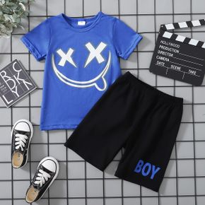Cross Print Tee and Shorts Athleisure Set for Toddlers/Kids