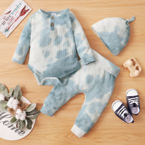 3pcs Baby Tie Dye Long-sleeve Waffle Romper and Trousers Set