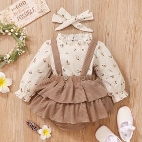 3pcs Baby Floral Print Long-sleeve Top and Ruffle Suspender Skirted Shorts Set