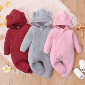 Baby Girl/Boy Textured Solid Color Ear Design Hooded Long-sleeve Jumpsuit