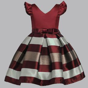 Kid Girl Trendy Striped Flare-sleeve Party Dresses