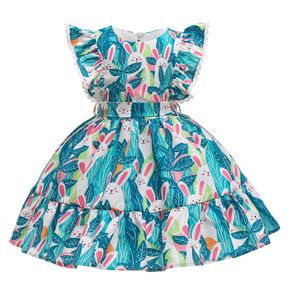 Kid Girl Cute Rabbit Leaf Print Flutter-sleeve Costume Party Dress with Waistband