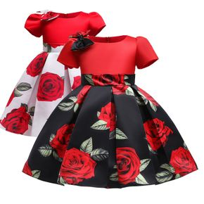Kid Girl Floral Print Bowknot Design Short-sleeve Princess Costume Party Pleated Dress