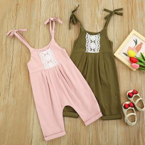 Floral Print Lace Decor Sleeveless Baby Sling Jumpsuit