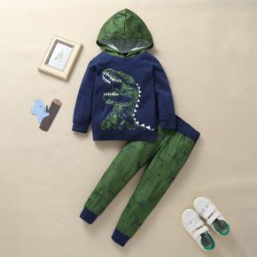 2-piece Baby / Toddler Cartoon Dinosaur Hooded Long-sleeve Pullover and Pants Set