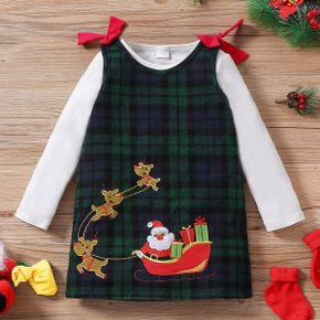 2-piece Toddler Girl Christmas Long-sleeve White Tee and Santa Deer Embroidered Bowknot Design Plaid Overall Dress Set