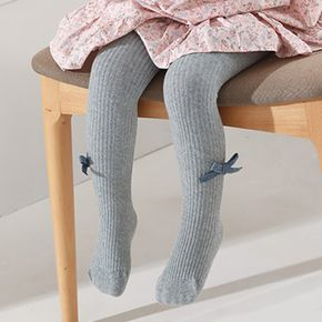 Baby / Toddler / Kid Bowknot Decor Solid Color Ribbed Socks