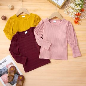 Toddler Girl Round-collar Casual Solid Ribbed Bishop Sleeve Top