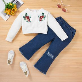 2-piece Toddler Girl Floral Embroidered White Top and Ripped Denim Jeans Set