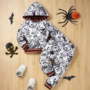 Halloween 2pcs Baby Boy All Over Print White Long-sleeve Hoodie and Trousers Sets