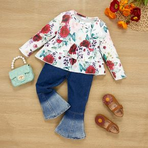 2-piece Toddler Girl Floral Print Layered Long-sleeve Peplum Top and Denim Flared Jeans Set