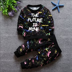 2-piece Toddler Boy Letter Painting Print Pullover and Pants Set