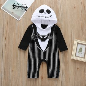 Skeleton Halloween Striped Hooded Long-sleeve Black and White Baby Jumpsuit
