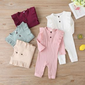 Ribbed Solid Ruffle Decor Long-sleeve Baby Jumpsuit