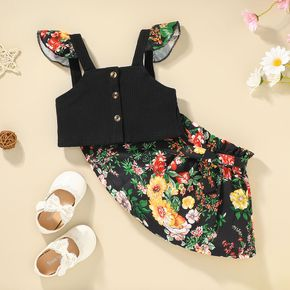 2-piece Toddler Girl Floral Print Camisole and Floral Print Skirt Set