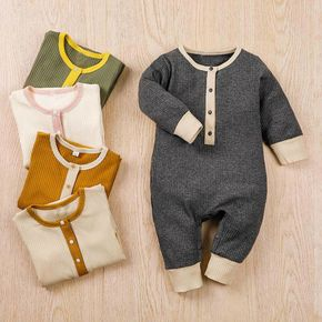 Ribbed Solid Splice Long-sleeve Baby Jumpsuit
