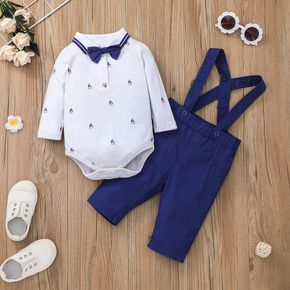 2pcs Gentleman Baby Bow Tie Sailboat Print Long-sleeve Romper and Overall Set