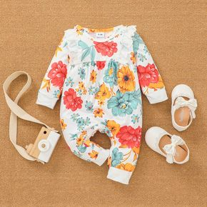 All Over Floral Print Long-sleeve Ruffle Cotton Jumpsuit