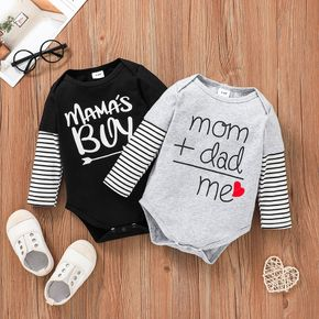 Letter Print Striped Long-sleeve Faux-two Baby Cotton Romper