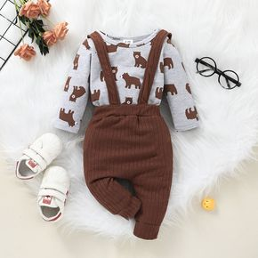 2pcs Baby All Over Cartoon Raccoon Print Long-sleeve Romper and Ribbed Overalls Set