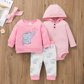 4pcs Baby Cartoon Elephant Print Pink Long-sleeve Pullover with Trousers and Striped Hooded Romper Set