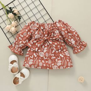 Baby Girl All Over Plant Print Off Shoulder Long-sleeve Dress