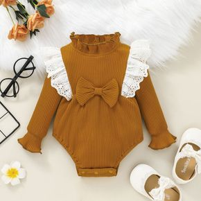 Baby Girl Ruffle Lace Splicing Cotton Long-sleeve Romper
