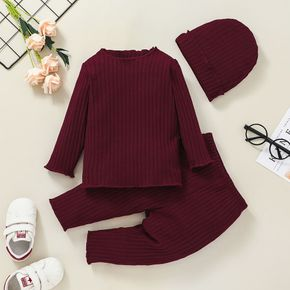 3pcs Baby Solid Ribbed Cotton Long-sleeve Pullover and Trousers Set